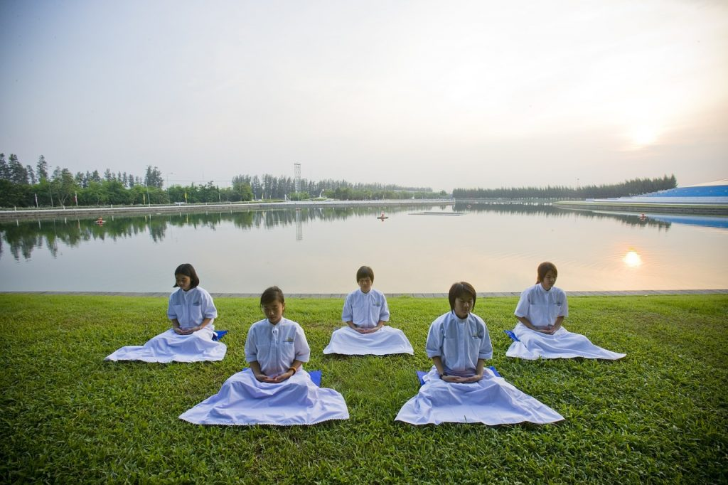meditation, girls, buddhists