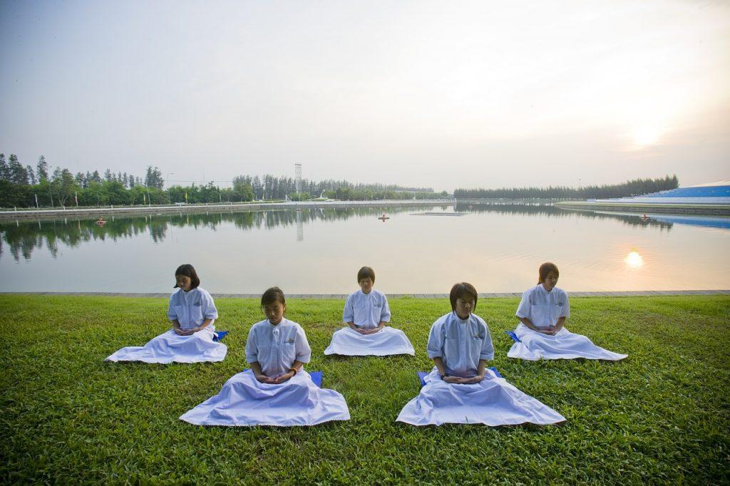 meditation, girls, buddhists